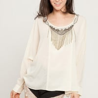 Embellished Oversized Woven Top