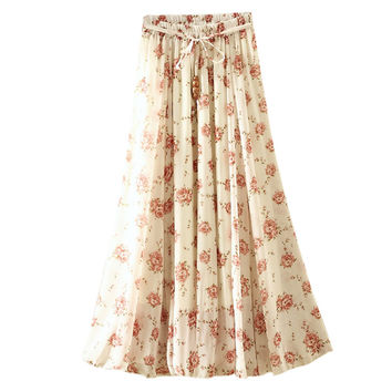 UWBACK New Summer Long Skirt Women Print Pleated Chiffon Bohemian Maxi Skirts Femme Floral Boho White SKirt Women TB982