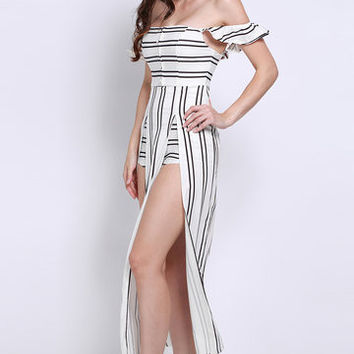Black and White Stripe Off Shoulder Overlay Playsuit