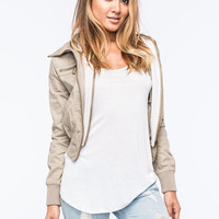 Full Tilt Twill Womens Bomber Jacket Khaki  In Sizes