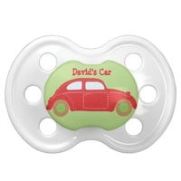 Personalized Red Car Pacifier - Baby's Name Car