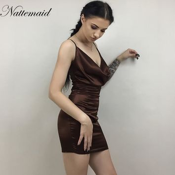 Women Spaghetti Strap Backless Draped Mini Dress Summer Off Shoulder V Neck Sleeveless Sexy Party Dresses