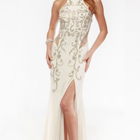 Cut Out Jersey Prom Dress with Side Slit