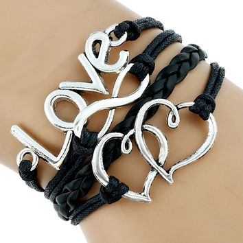 1 pc black Leather Cord Bracelet paracord charm couple hearts and love women woman girls teen new