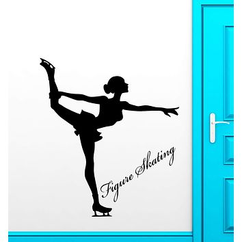 Vinyl Wall Decal Figure Skating Olympic Games Girl Sport Stickers (2890ig)