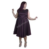 Skelapparel Plus Size 60's Vintage Design Purple Satin Flare Swing Dress