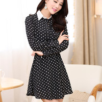 Women : Korean chiffon long sleeve lapel dots printed mini dress ghl3434