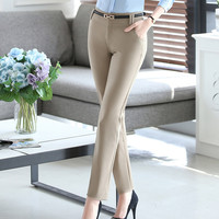 Khaki Trousers With Pockets Women 2017 Autumn Casual OL Formal Pants Women Elegant Office Straight Work Wear Full Length Pant