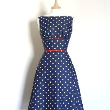 Navy Blue Polka Dot Crepe de Chine Tea Dress - Made to Measure - by Dig For Victory
