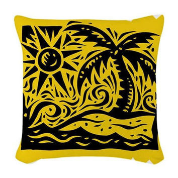 Palm Tree | Seahorse | Retro Surfer | woven throw pillow * couch pillows * decorative pillow