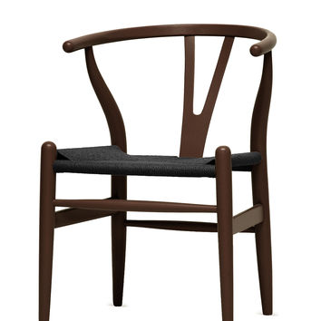 Design Studios Brown Wishbone Chair - Dark Brown/Black