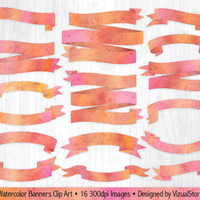 Watercolor Banner Clip Art, Digital Ribbon Clipart, Pink Watercolor Banners, Paint Splatter Banners, Pink Orange Banner, Colorful Banners