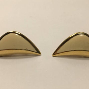 Signed Monet Earrings - Clip On - Vintage Earrings - Gold Tone Earrings - Cream & Gold - Pre 1998 Vintage Jewelry