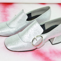 vtg 60s silver chunky heel loafer disco shoes chunky monk loafers iconic 60s shoes costume size 7