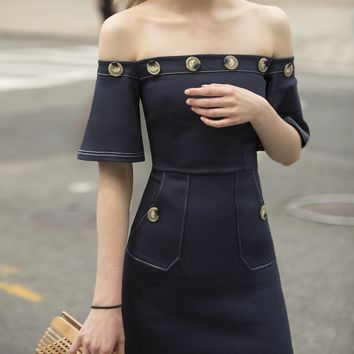 LEAH NAVY BUTTON OFF THE SHOULDER DRESS-15% OFF