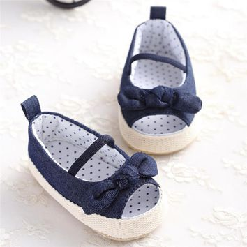 Toddler Baby Girl Summer Shoes First Walkers Denim Baby Sneakers Newborn Shoes Bowknot Toddler Infant Kids Soft Sole Crib Shoes