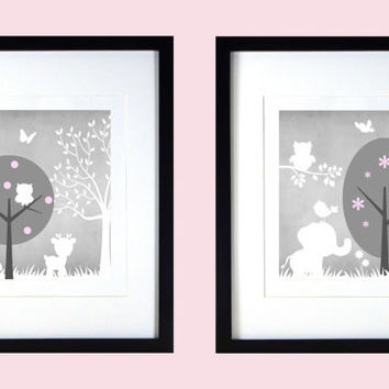 Gray Baby Pink White Enchanted Forest Animals, CUSTOMIZE YOUR COLORS, 8x10 Prints, set of 2, nursery decor nursery print art baby room decor