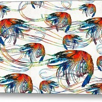 Colorful Shrimp Collage Art By Sharon Cummings Metal Print