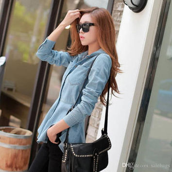Hot sell 2015 Fall clothing new arrival ladies hooded long-sleeved shirt solid dovetail hooded denim shirt dresses short XZ0107