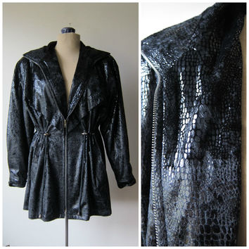 80s Black Snake Skin Print Jacket w/ Cinched Nipped Waist // Trendy Fall Fashion New Wave Avant Garde Hipster Style