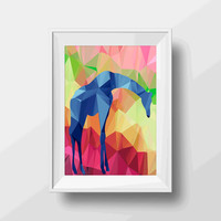Giraffe print - Giraffe wall art decor poster print - geometric print art - geometric wall art decor