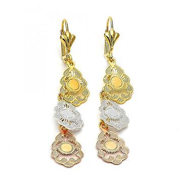 Gold Layered 066.010 Long Earring, Flower Design, Diamond Cutting Finish, Tri Tone
