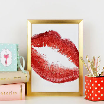 Lips Poster Sexy Lips Pink Red Lipstick Modern Art Gift For Her Lips Painting Home Decor Lips Print Watercolor Fashion Illustration