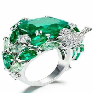 ZHIXUN Elegant Green Stone Leaves Retro Bright Silver Bird Rings Bague for Women Girl Engagement Birthday Gift Jewelry Anillos