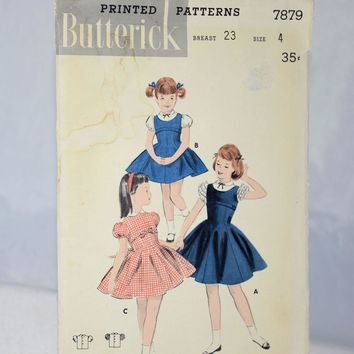 Vintage 1940s Butterick Sewing Pattern 7879 Jumper Blouse Dress Girls Size 4 Children