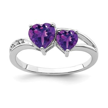 925 Sterling Silver Rhodium Plated Diamond and Amethyst Heart Ring
