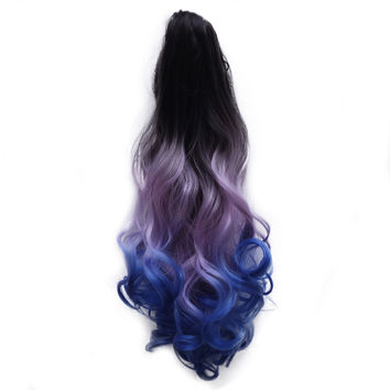 Gradient Ramp Claw Clip Horsetail Wig    10#black purple blue