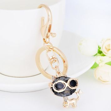 Black Crystal Cat Rhinestone Keychain