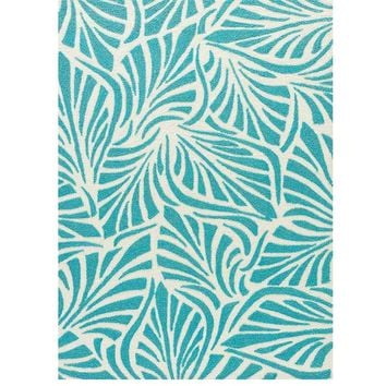 Frond Teal Outdoor Rug