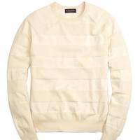 Men's Cotton-Cashmere Crewneck Stripe Sweater