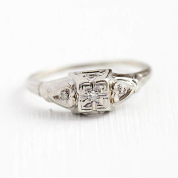 Vintage Engagement Ring - 14k White Gold Three Diamond Heart Design - Size 6 3/4 Illusion Head 1940s Promise Wedding Dainty Fine Jewelry