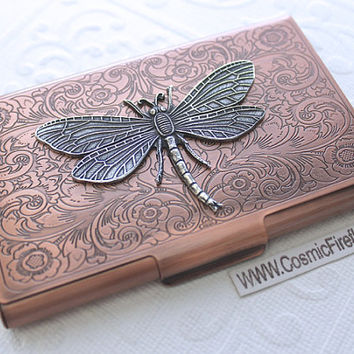 Copper Card Case Silver Dragonfly Steampunk Card Case Business Card Holder Gothic Victorian Style Card Case Handcrafted Dragonfly Card Case