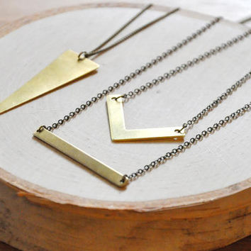 Brass Chevron Necklace, Simple Necklace, Dainty Necklace, Every Day Necklace, Geometric Necklace
