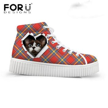 Cute Cat Breathable Flat Creepers Platform Shoes for Women