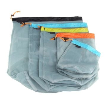5pcs//set Drawstring Stuff Sack Storage Bag for Travel Camping Fishing Sports