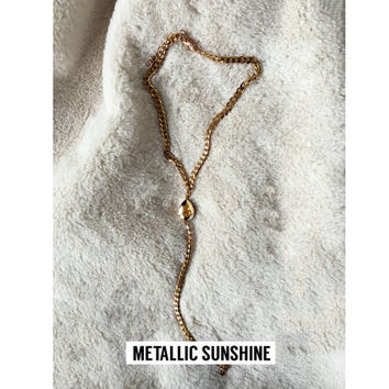 Gold Lariat style - Swarovski Body Drop Choker - Stainless Steel