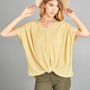 Striped V Neck Front Wrap Top - Yellow