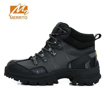 MERRTO Men's Winter Outdoor Hiking Trekking Boots Shoes For Men Genuine Leather Winter Climbing Mountain Boots Shoes Man