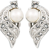 Rigant 18K RGP Alloy White Crystal Accented Shell Pearl Clip Earrings (White Gold)
