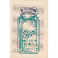 dictionary art print - MASON JAR - shabby chic home decor