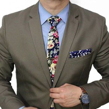 Blue Skinny Floral Tie Boyfriend Gift Men's Gift Anniversary Gift for Men Husband Gift Wedding Gift For Him Groomsmen Gift for Friend Gift