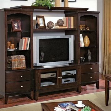 4 pc Luna Entertainment center media unit with dark wood finish