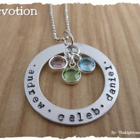 Personalized Hand Stamped Mother Necklace - Grandma Necklace - Handmade Jewelry - Gift for mom Gift for Grandma - Swarovski Elements custom