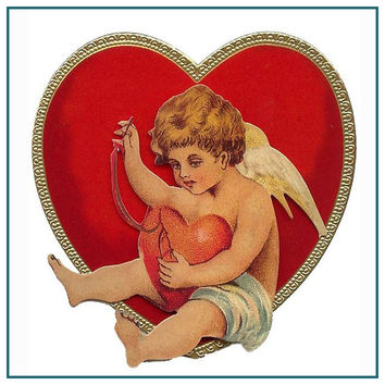 Vintage Valentine Cupid Sewing Heart in a Heart Counted Cross Stitch or Counted Needlepoint Pattern