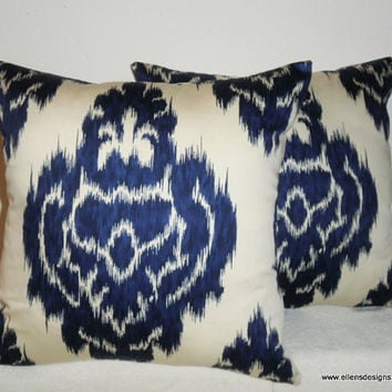 Decorative-Accent-Throw PIllow Covers-Set of Two 18 inch- Navy on Off White Ikat,Free Domestic Shipping