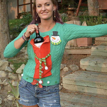 Wine Holder, Ugly Christmas Sweater, woman's XS, alcohol, wine, novelty, one of a kind, vintage sweater, jumper, stocking